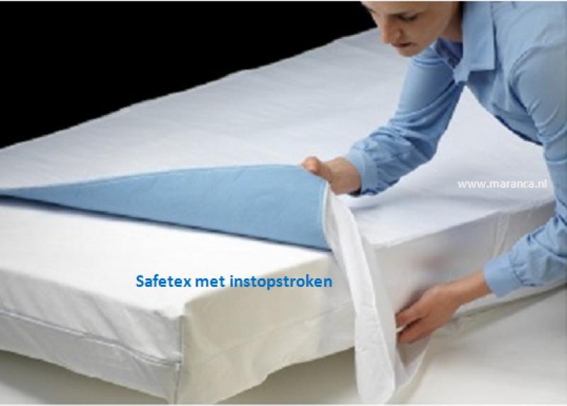 Matrasbeschermer safetex met instopstroken