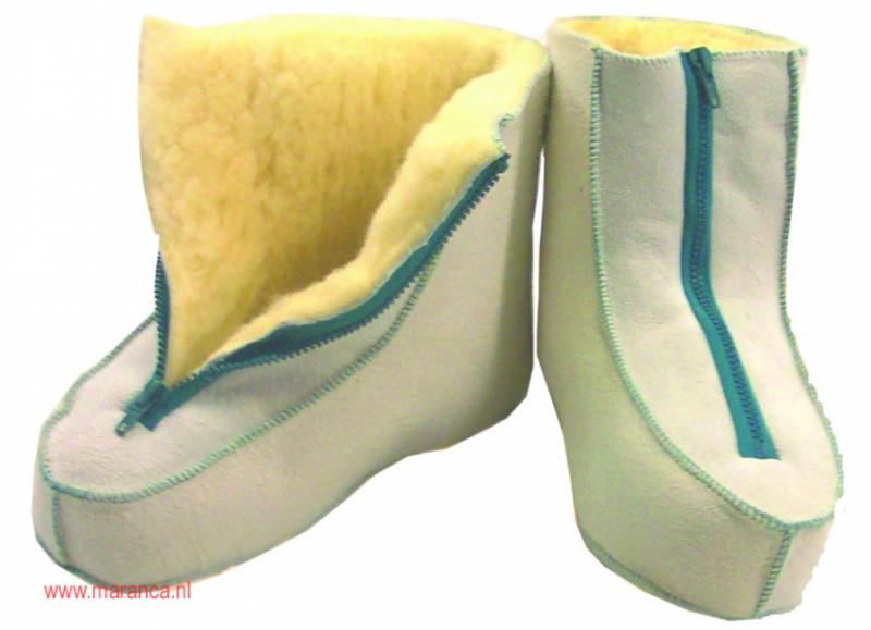 Schapenvacht schoenen met ritssluiting